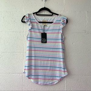 NWT Chaser Striped Flutter Sleeve Tee